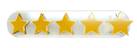 Five digital gold ranking stars on white background 3D rendering