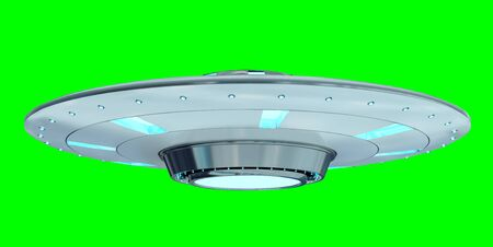 Metal and silver vintage UFO isolated on green background 3D rendering