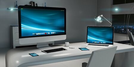 office desk: Modern dark office interior with desk computer and digital devices 3D rendering