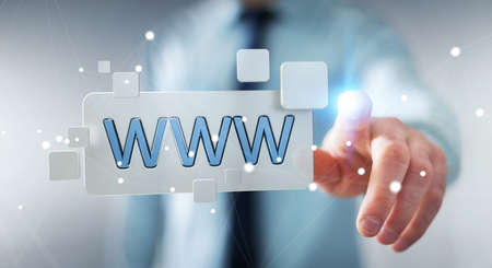 contact: Businessman using tactile interface web address bar to surf on internet 3D rendering Stock Photo