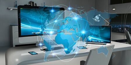 international internet: Office with modern devices and digital planet Earth floating over desk 3D rendering