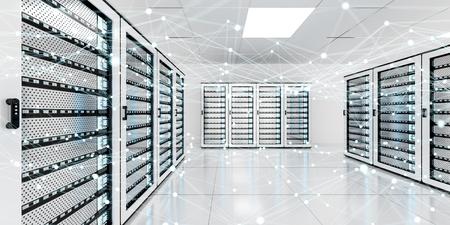 서버 룸 데이터 센터 3D 렌더링에 흰색과 파란색 추상 네트워크