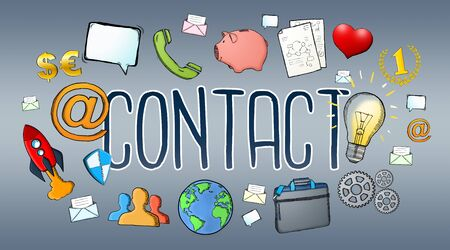 Manuscript e-mail contact text with icons on grey background