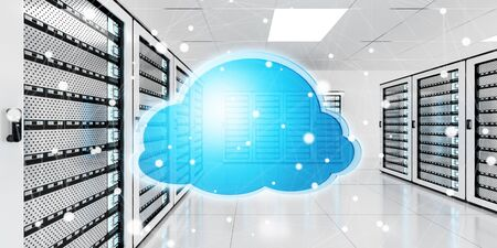 storage: Server room data center with cloud blue icon floating inside 3D rendering