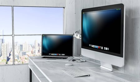 white work: Modern desktop interior with computer and devices and city top view 3D rendering Stock Photo