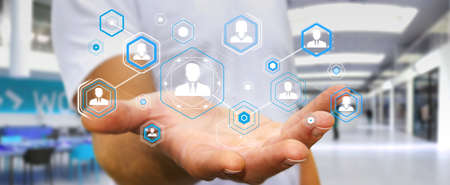 man profile: Businessman on blurred background using digital social network 3D rendering