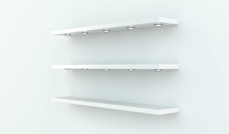 office furniture: White shelves on white wall with five spotlights on each of them 3D rendering