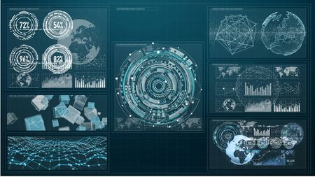 grey: 3D rendering digital charts and graph hologram screen on blue background