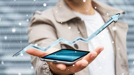 Businessman holding digital blue arrow over mobile phone 3D rendering