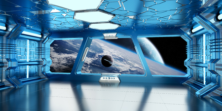 starship: Spaceship blue interior with view on space and distant planets system 3D rendering elements of this image furnished by NASA