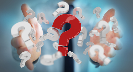 find: Businessman on blurred background using 3D rendering question marks