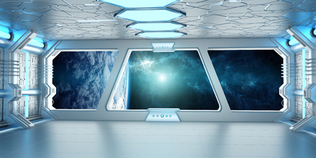 futuristic interior: Spaceship white and blue interior with view on space and planet Earth 3D rendering elements of this image furnished by NASA