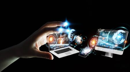 mobile: Businesswoman on blurred background connecting tech devices 3D rendering Stock Photo