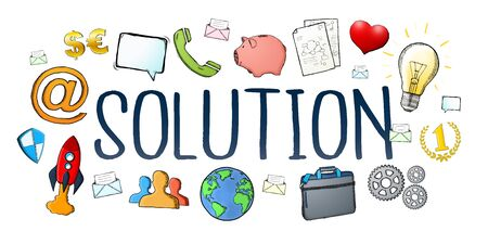 dark: Hand-drawn solution text with icons on white background Stock Photo
