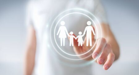 problem: Businessman on blurred background touching family interface with his finger 3D rendering