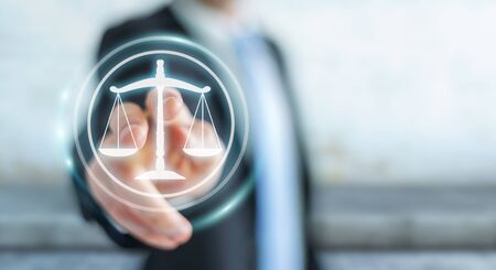Businessman on blurred background using law protection right 3D rendering Stock Photo
