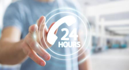 ホットライン顧客支援 3 D レンダリングを使用して背景をぼかした写真の実業家