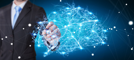 Zakenman wat betreft digitale menselijke hersenen met cel en neuronenactiviteit het 3D teruggeven Stockfoto