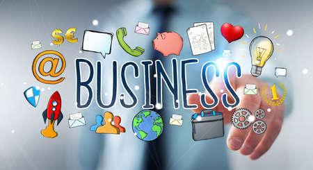 solution: Businessman on blurred background using hand-drawn business presentation