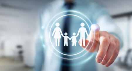 Empresario en el fondo borroso tocar la interfaz de la familia con su dedo Representación 3D