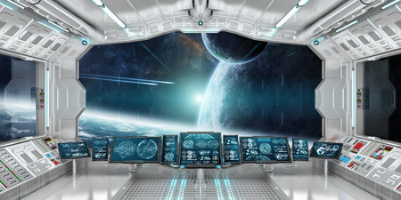 Intérieur de la vaisseau spatial avec vue sur l'espace et le système des planètes lointaines Les éléments de rendu 3D de cette image fournis par la NASA