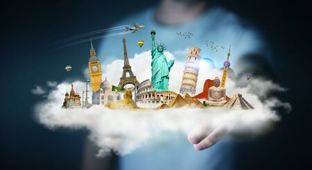 freedom: Businessman on blurred background touching a cloud full of famous monuments with his finger 3D rendering