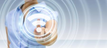 Empresaria en fondo borroso usando la representación 3D del interfaz de punto de acceso wifi gratuito