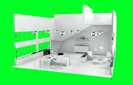 white work: Depth of focus on modern white office interior with digital devices and wide windows 3D rendering