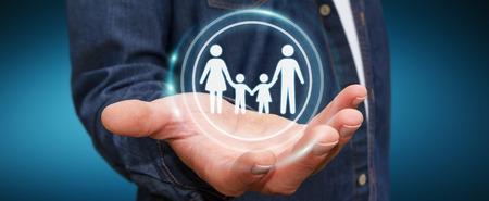 Empresario en el fondo borroso explotación familiar interfaz en su mano 3D rendering