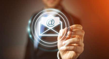 Hombre de negocios en borrosa fondo tocar 3D rendering vuelo correo electrónico icono con un digital pluma