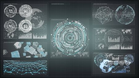 screen: 3D rendering digital charts and graph hologram screen on dark background
