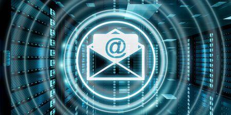 Digital blanco y azul mensajes de correo electrónico volando sobre sala de servidores de datos 3D renderizado