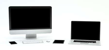 mobile: Modern computer laptop mobile phone and tablet on white background 3D rendering