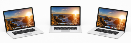 silver: Triple modern digital silver and black laptop on white background 3D rendering Stock Photo