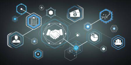 3D rendering partnership illustration interface on dark background Banco de Imagens