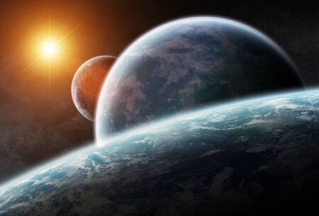 Distant planet system in space 3D rendering elements of this image furnished by NASA Stock Photo