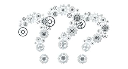 silver background: 3D rendering gear icons question mark flying on white background