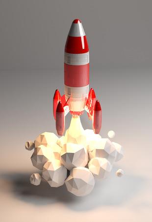 회색 배경에 3D 렌더링을 시작하는 빨간색과 흰색 로켓 스톡 콘텐츠