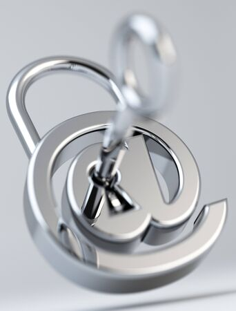 Digital arobase padlock 3D rendering on grey background