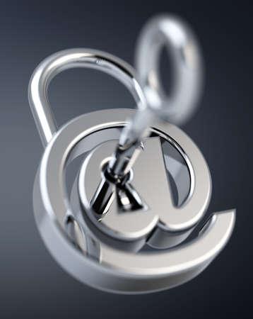 Digital arobase padlock 3D rendering on grey background