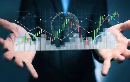 fingers: Businessman on blurred background using digital 3D rendered stock exchange stats and charts