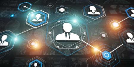 dark: 3D rendering businessman connection interface on dark background