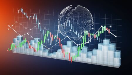 rendered: Digital 3D rendered stock exchange stats and charts on blue background