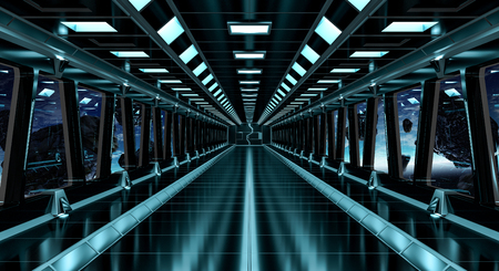 Spaceship black corridor with view on space and distant planets system 3D rendering elements of this image furnished by NASA Stock Photo