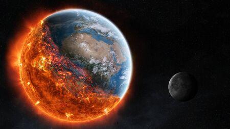 Vue de la combustion planète terre dans l'espace 3D éléments de cette image fournie par la NASA rendu Banque d'images - 77444172