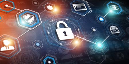 anti piracy: 3D rendering hacking technology interface on dark background
