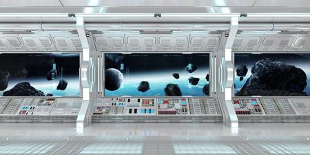 Intérieur de la vaisseau spatial avec vue sur l'espace et la planète Terre Les éléments de rendu 3D de cette image fournis par la NASA Banque d'images - 77444312