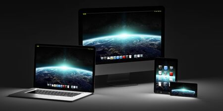 screen: Modern computer laptop mobile phone and tablet in the dark 3D rendering Stock Photo