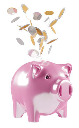 golden: Piggy bank with flying coins going inside 3D rendering on white background Stock Photo