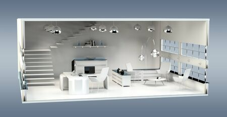 construction project: 3D rendering office plan on grey background
